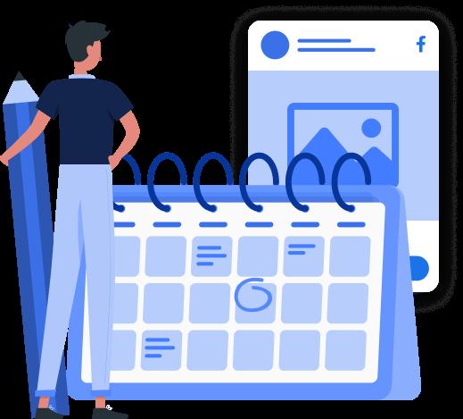 Imagem mostra ilustração de um personagem segurando um lápis ampliado, ao lado de um calendário e, atrás do calendário, um post na rede social.