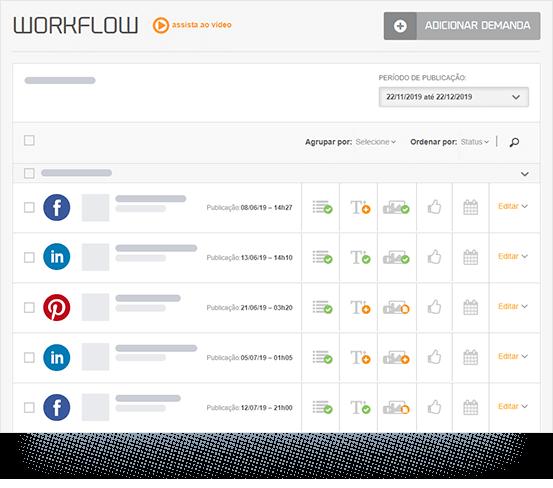 Imagem mostra a caixa de seleção de tipos de relatórios da mLabs. São eles: crescimento, alcance, engajamento, conteúdo e personalizado.