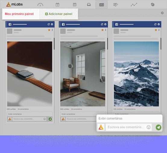 Imagem mostra a tela da funcionalidade 'feed' da mLabs, com três paineis: dois com feeds do instagram de marcas diferentes e outro com a timelina do Facebook de outra marca.