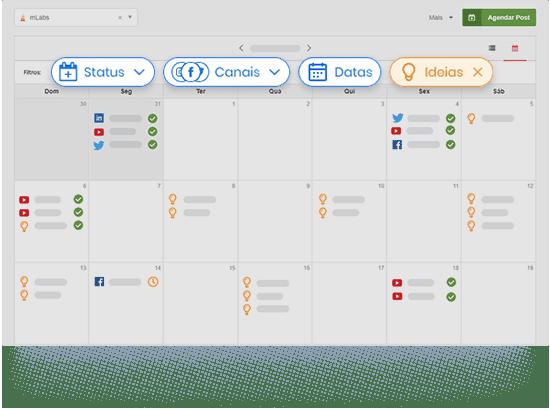 Calendario de posts da mLabs destacando os filtros de posts, datas especiais e ideias salvas