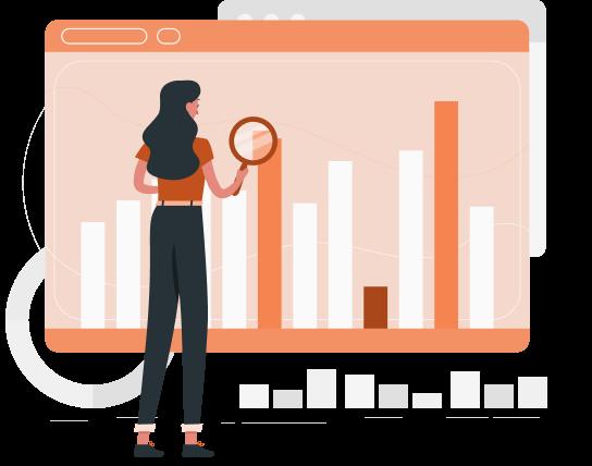 Ilustração traz personagem de uma mulher analisando um grande gráfico com uma lupa.