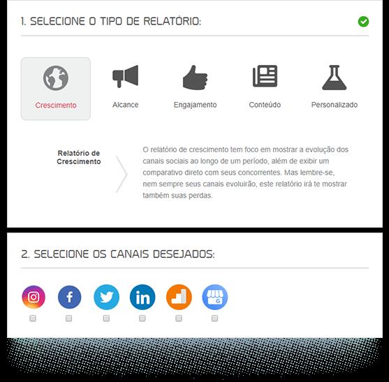 Imagem mostra a caixa de seleção de tipos de relatórios da mLabs. São eles: crescimento, alcance, engajamento, conteúdo e personalizado
