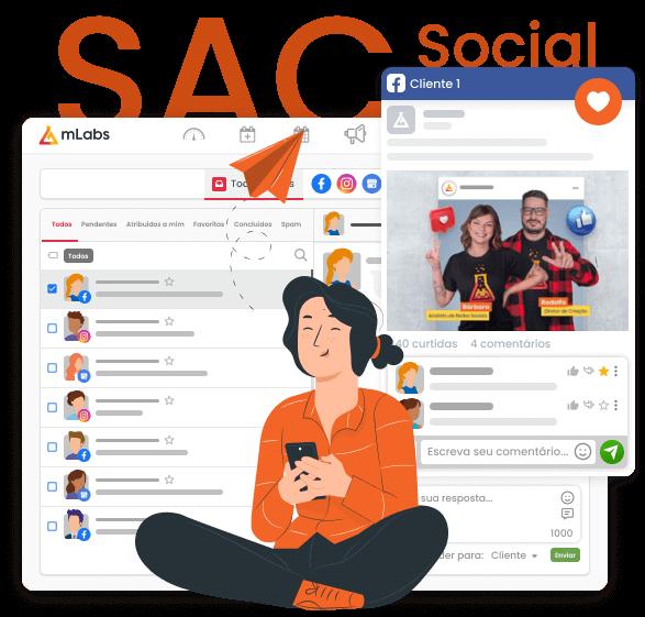 Imagem mostra a tela do Inbox da mLabs, a funcionalidade que permite responder mensagens privadas do Instagram, Facebook e avaliações do Google na mesma tela. Sob a imagem, ilustração de uma jovem sentada, usando o celular.