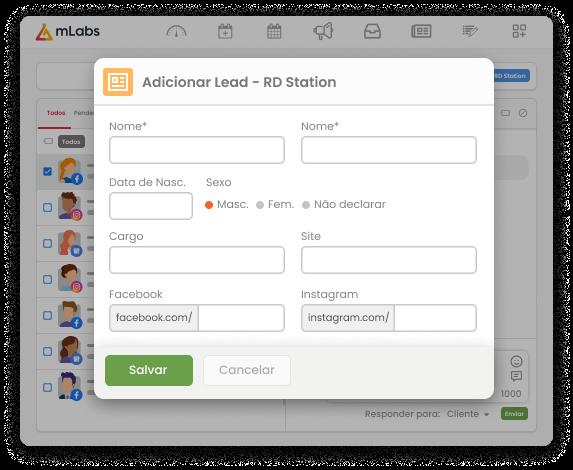 Tela do formulário para envio de leads a partir do Inbox da mLabs para o RD Station. Campos presentes: nome, e-mail, data de nascimento, gênero, telefone, cargo, site, perfis nas redes sociais