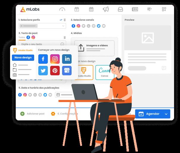 Imagem mostra tela de agendamento de posts da mLabs com destaque para a ferramenta mLabs studio que permite a criação de posts para diversas redes sociais.