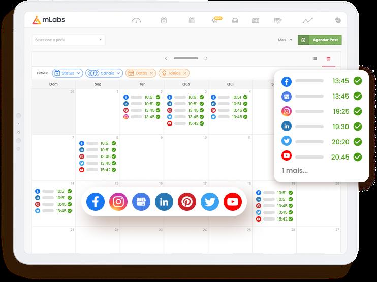 Imagem mostra a tela do Calendário da mLabs, com destaque para as diversas redes sociais suportadas pela plataforma.