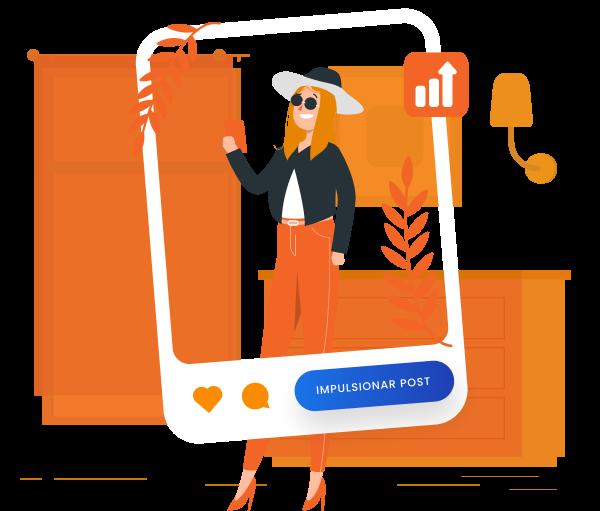 Imagem mostra ilustração de um um post com destaque para o botão ``Impulsionar``. Dentro do post, personagem ilustrada fazendo uma selfie.