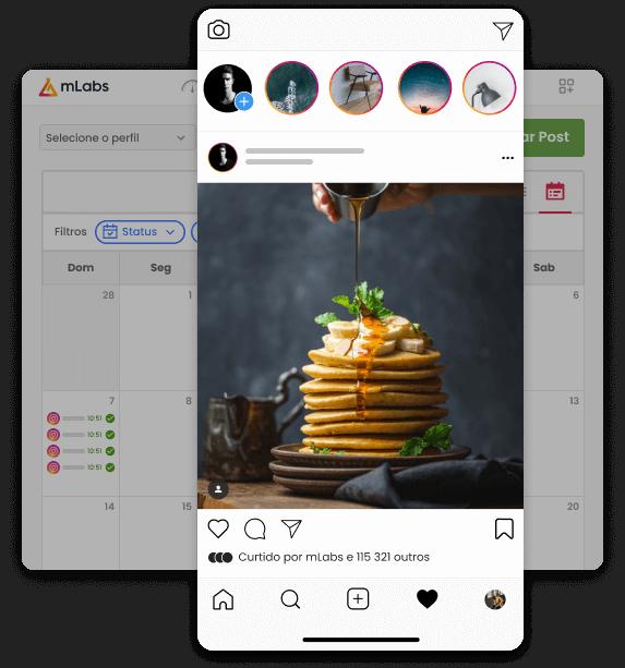 Imagem mostra o calendário da mLabs com destaque para a prévia de um post programado para o Instagram.