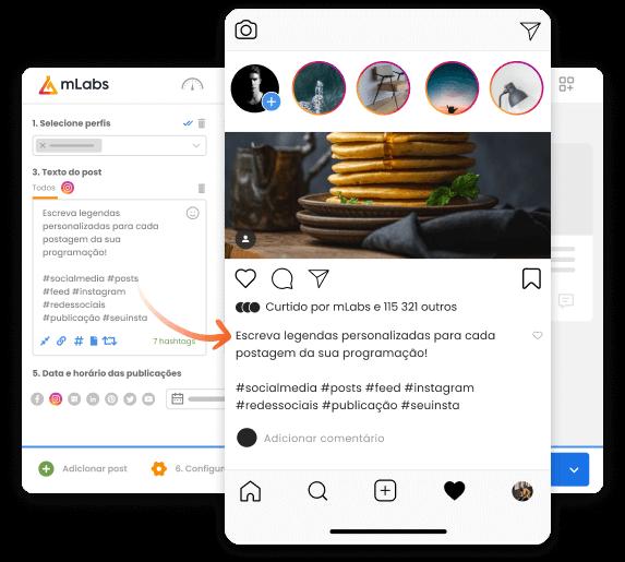 Imagem mostra a tela de agendamento de posts da mLabs com a prévia de um post programado para o Instagram. Destaque para legenda customizada com hashtags e espaçamento entre linhas.