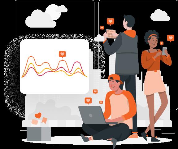Imagem traz ilustração com gráficos que representam os relatórios da mLabs. Na ilustração, profissionais acessam os relatórios através de diferentes dispositivos.