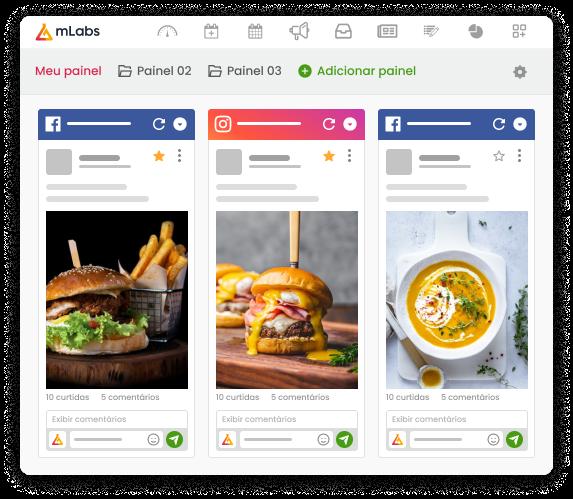 Imagem traz gráficos de melhores posts e stories por tipo dos relatórios de Instagram da mLabs.