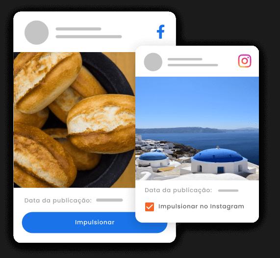 Imagem mostra recorte de dois posts: um no Facebook e outro no Instagram. Destaque para o botão Impulsionar no post do Facebook e box com a opção Impulsionar no Instagram.