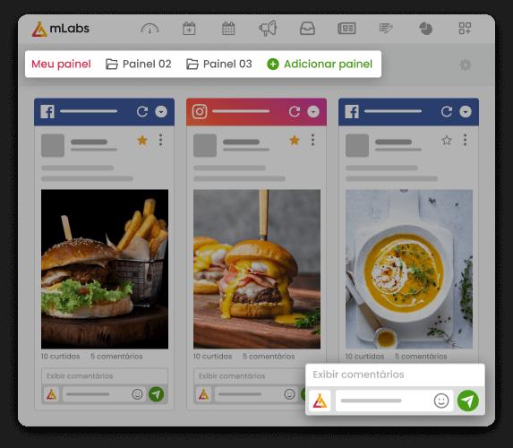 Imagem mostra a tela da funcionalidade Feed da mLabs, com três painéis, lado a lao: dois com feeds do Facebook e um com o feed do Instagram.