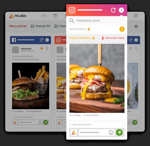 Imagem mostra a tela da funcionalidade feed da mlabs, ressaltando a opção de ver comentários favoritos.