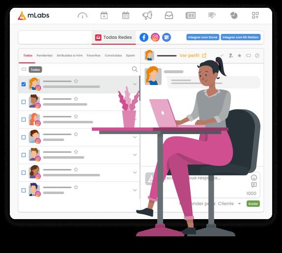 Imagem mostra a tela do Inbox da mLabs, funcionalidade que permite responder o Direct do Instagram pelo pc. Sob a imagem, ilustração de uma mulher sentada, trabalhando, com o computador sobre a mesa.