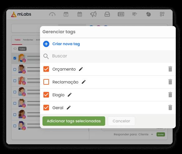 Imagem mostra a tela do Inbox da mLabs como a caixa de gerenciamento de tags aberta. Na lista, tags de orçamento, reclamação, elogio e geral.
