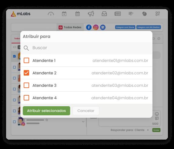 Tela do Inbox da mLabs, mostrando como atribuir um atendimento para outro usuário.