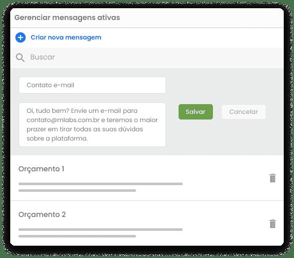 Tela do Inbox da mLabs, mostrando a aba de gestão de mensagens salvas. Destaque para campo de criar nova mensagem.
