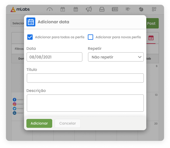 Imagem mostra a tela do Calendário da mLabs com destaque para a opção de Adicionar Lembrete para Datas Especiais.