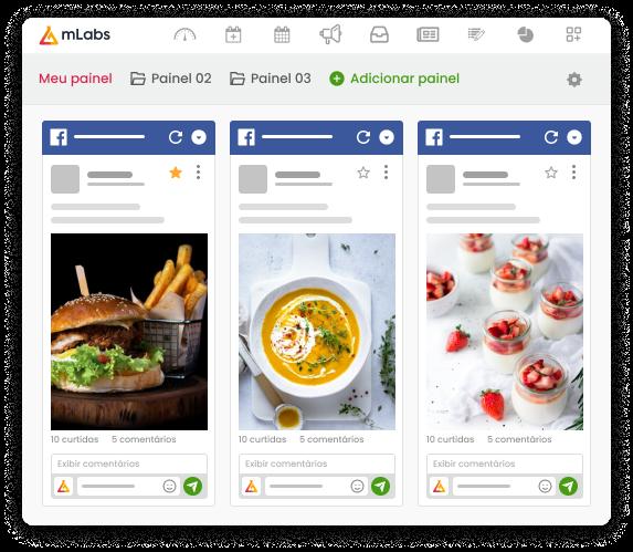Imagem mostra a tela da funcionalidade Feed da mLabs, com três painéis criados, lado a lado, cada um com um feed diferente do Facebook.