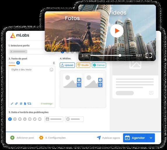 Imagem mostra tela de agendamento de posts da mLabs, ressaltando a possibilidade de postar em diferentes formatos: foto e vídeo.