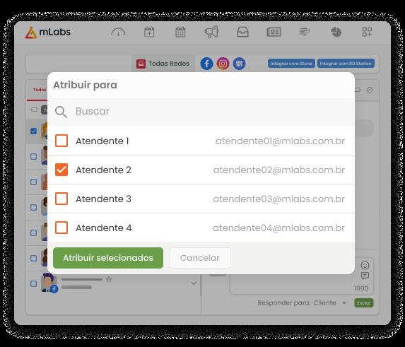 Imagem mostra a tela do Inbox com a modal para atribuir uma conversa para outro atendente.
