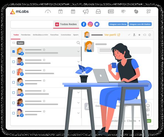 Imagem mostra a tela do Inbox da mLabs, funcionalidade que permite responder o Inbox do Facebook pelo pc. Sob a imagem, ilustração de uma mulher sentada, trabalhando, com o computador sobre a mesa.