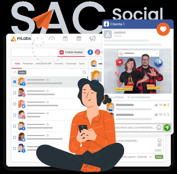 Imagem mostra uma composição com a tela da funcionalidade Inbox da mLabs, que permite a gestão de mensagens privadas do Instagram, Facebook e Avaliações do Google e a funcionalidade Feed, que permite interações com comentários dos seguidores.