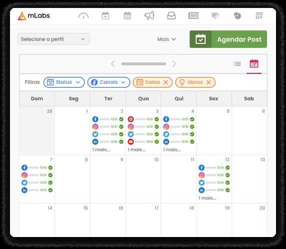 Imagem mostra o calendário da mLabs com diversos posts agendados, com destaque para os filtros: status, canais, datas, ideias.