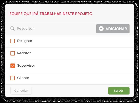 Imagem mostra tela do worflow da mLabs na opção de seleção de equipe que irá trabalhar em um projeto.