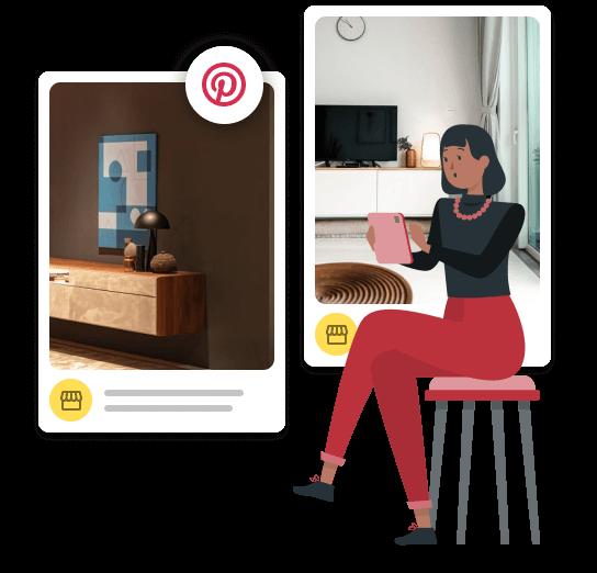 Imagem mostra dois pins de decoração com ícone do Pinterest em volta. Ao lado da imagem, ilustração de uma personagem sentada em uma banqueta, segurando um tablet.