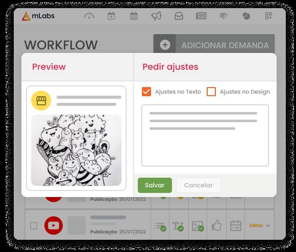 Imagem mostra a tela do Workflow da mLabs com a modal de pedido de ajustes no texto aberta.