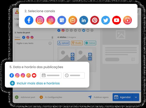 Imagem mostra a tela de agendamento de posts da mLabs com destaque para as redes sociais integradas à plataforma e campo para definir data e horário para o agendamento