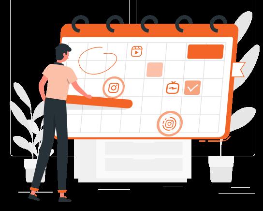 Imagem mostra ilustração de um calendário mensal com um personagem marcando as datas que simbolizam os dias de posts agendados.