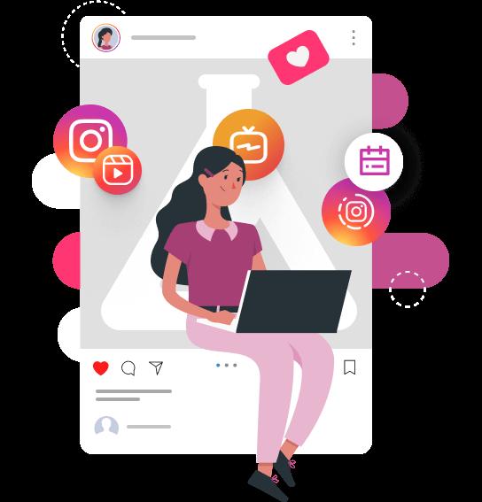 Imagem traz ilustração de um post fictício com o logo da mLabs dentro do instagram e uma personagem sentada sob o post com o computador no colo. Em volta dela, ícones de like e calendário.